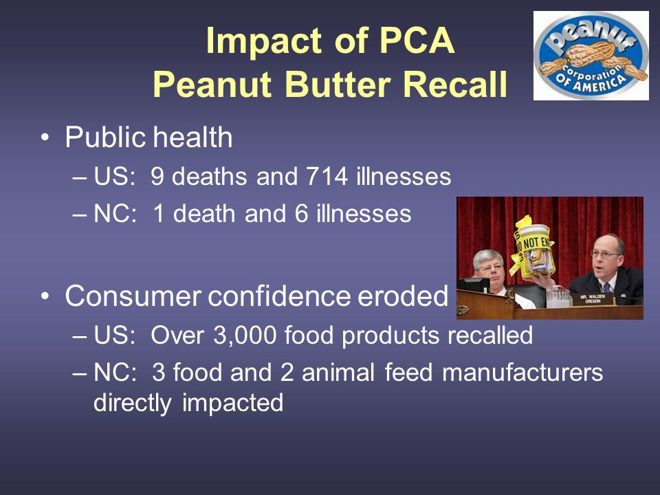 Impact of PCA Peanut Butter Recall Public health –US: 9 deaths and 714 illnesses –NC: 1 death and 6 illnesses Consumer confidence eroded –US: Over 3,000 food products recalled –NC: 3 food and 2 animal feed manufacturers directly impacted