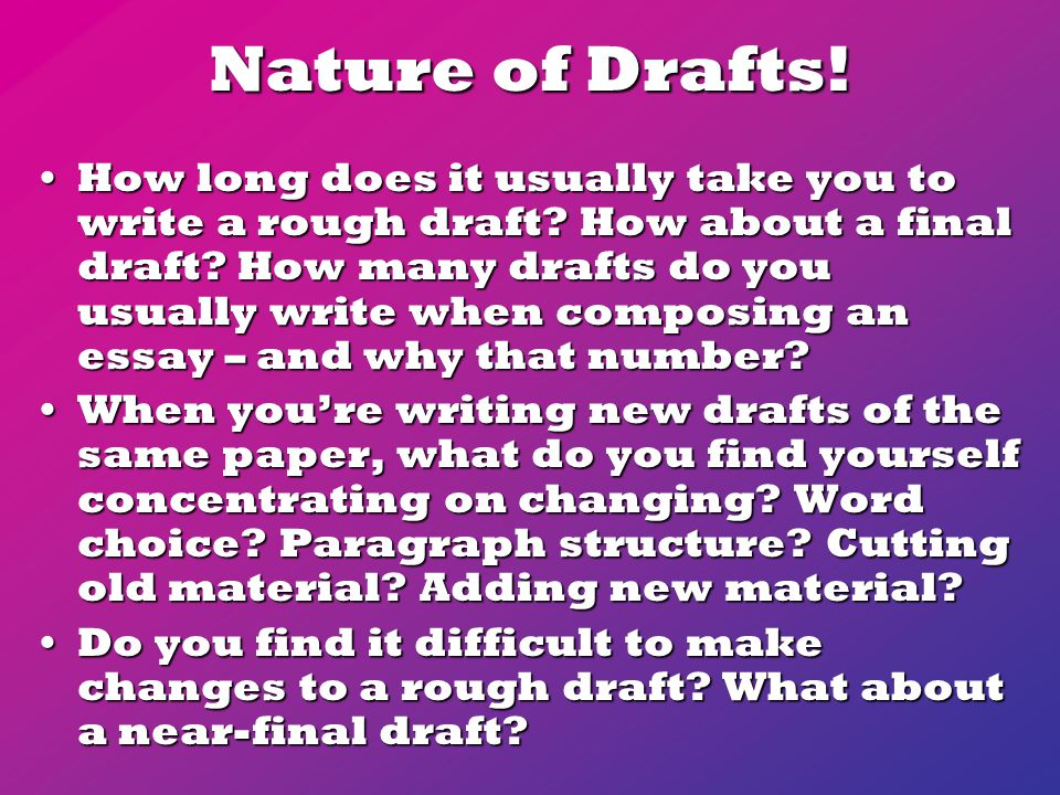 Nature of Drafts. How long does it usually take you to write a rough draft.