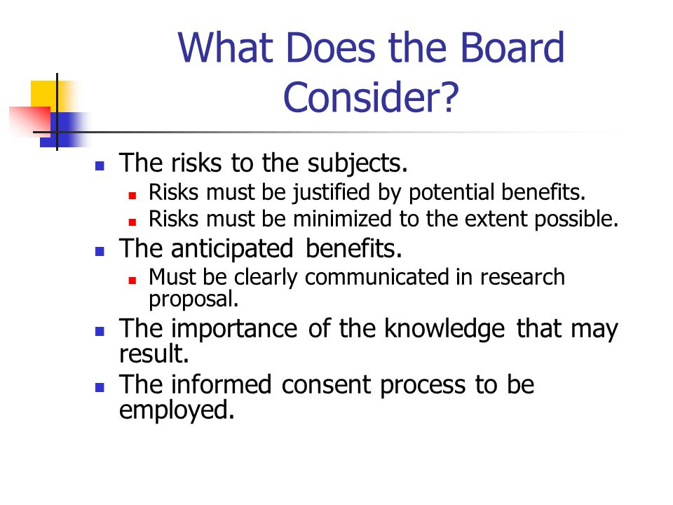 What Does the Board Consider. The risks to the subjects.