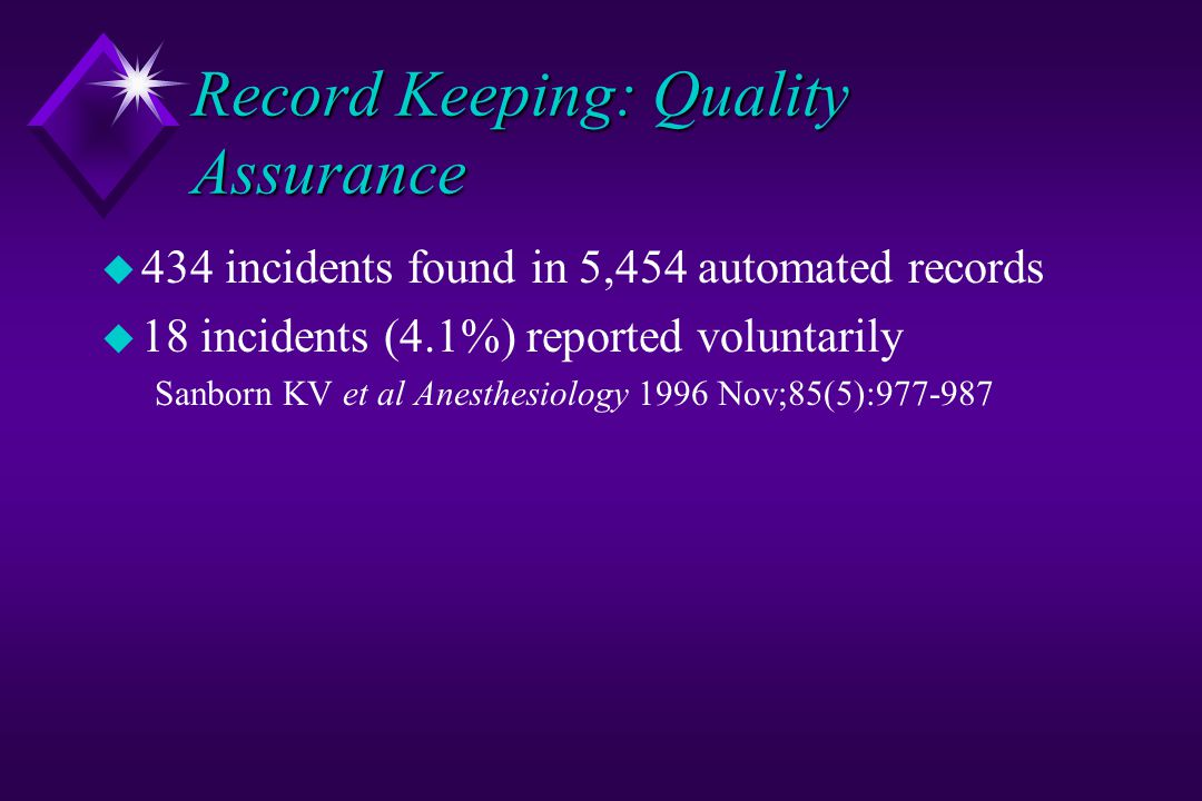 Record Keeping: Quality Assurance u 434 incidents found in 5,454 automated records u 18 incidents (4.1%) reported voluntarily Sanborn KV et al Anesthesiology 1996 Nov;85(5):977-987