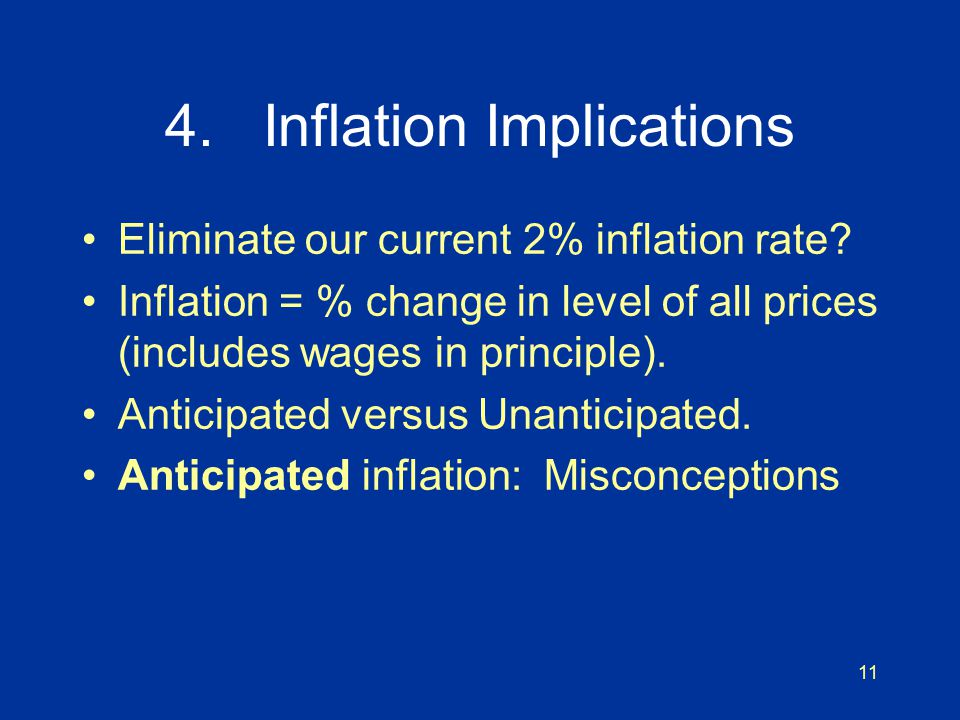 11 4. Inflation Implications Eliminate our current 2% inflation rate.