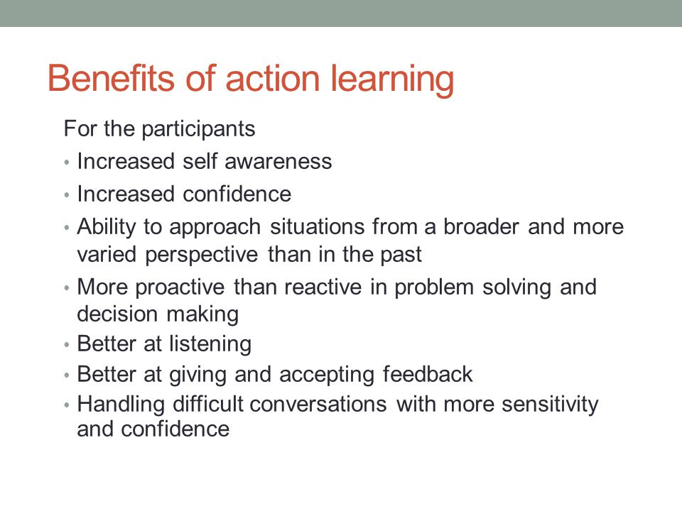 Learning happens at three levels: About the issue being tackled About the process of learning itself About oneself