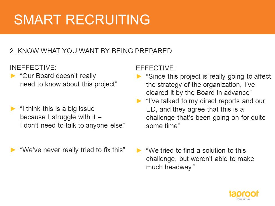 "SMART RECRUITING 2. KNOW WHAT YOU WANT BY BEING PREPARED INEFFECTIVE: ►""Our Board doesn't really need to know about this project"" ►""I think this is a"