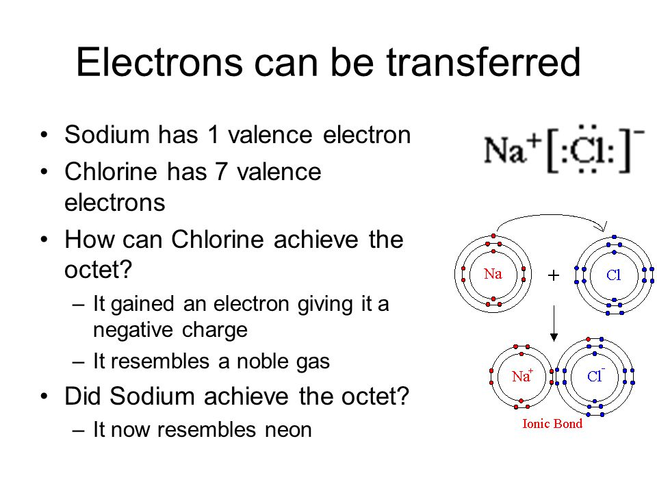 Electrons can be transferred Sodium has 1 valence electron Chlorine has 7 valence electrons How can Chlorine achieve the octet.