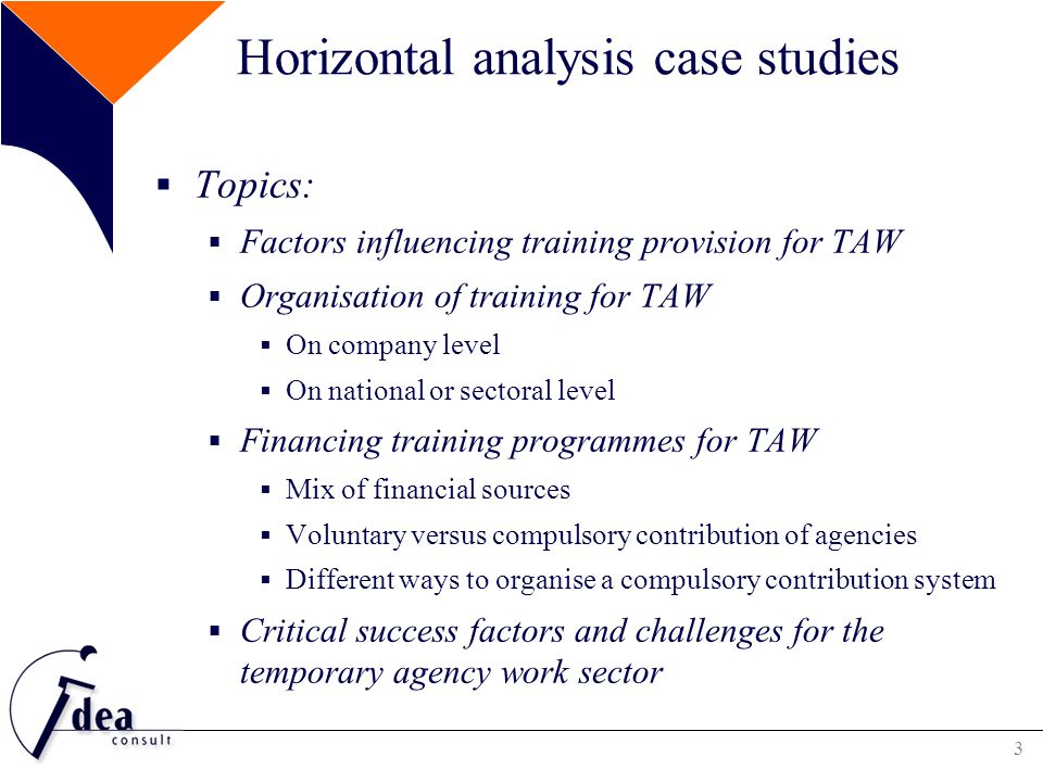 4 Factors influencing training provision for TAW GeneralTAW-specific Micro Educational background of the worker Motivations to work in TAW sector Previous situation of the worker MesoRequired competencies in the jobTriangular relationship Scale of the company Average duration of assignment (related to strong mobility in/out work) Mobility of workers (working in different sectors, user firms, agencies,..) MacroGeneral vocational training systemType of contract with agency Legislation on training conditions Shortages in the labour market