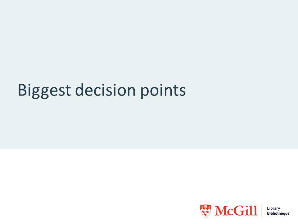 Biggest decision points
