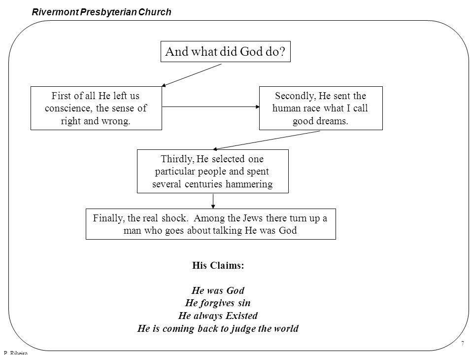 Rivermont Presbyterian Church P. Ribeiro 7 And what did God do.