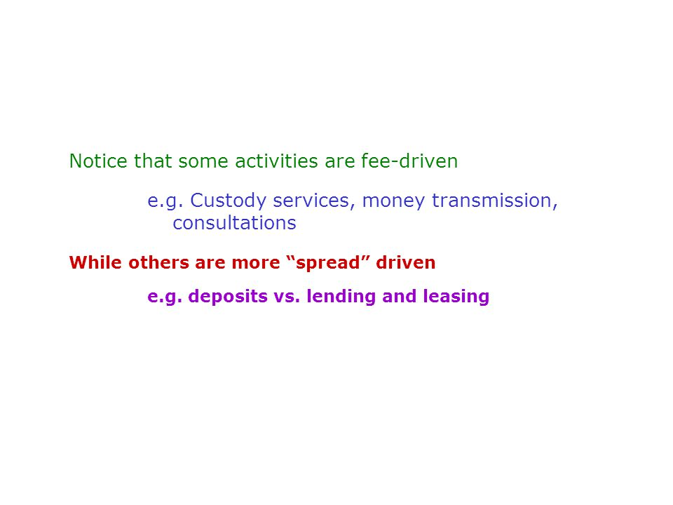 Notice that some activities are fee-driven e.g.