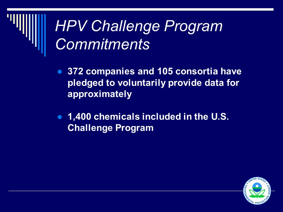 9 HPV Challenge Program Commitments ●372 companies and 105 consortia have pledged to voluntarily provide data for approximately ●1,400 chemicals inclu