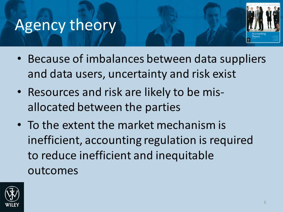 Agency theory Because of imbalances between data suppliers and data users, uncertainty and risk exist Resources and risk are likely to be mis- allocat