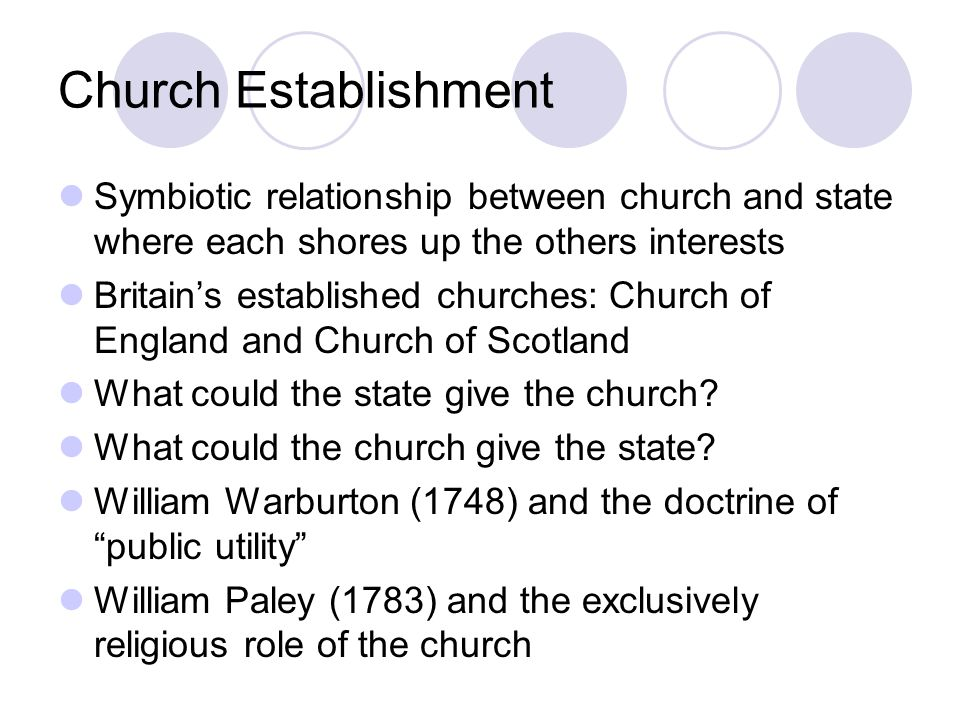 Church Establishment Symbiotic relationship between church and state where each shores up the others interests Britain's established churches: Church