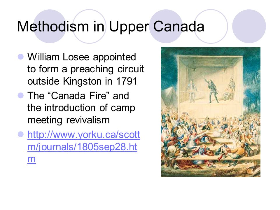"""Methodism in Upper Canada William Losee appointed to form a preaching circuit outside Kingston in 1791 The """"Canada Fire"""" and the introduction of camp"""