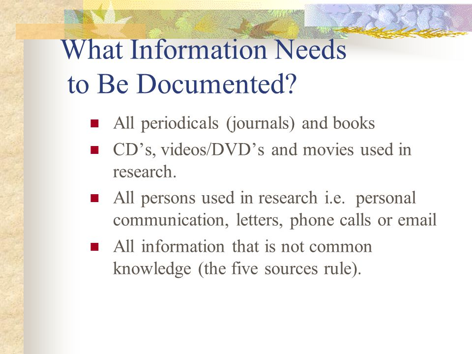 What Information Needs to Be Documented.