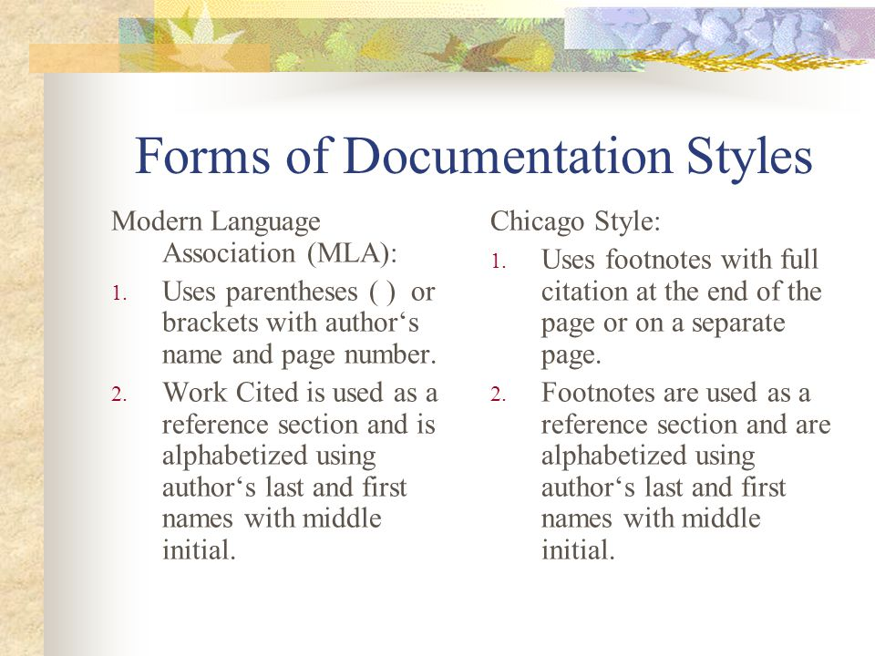 Forms of Documentation Styles Council of Biology Editors (CBE): 1.