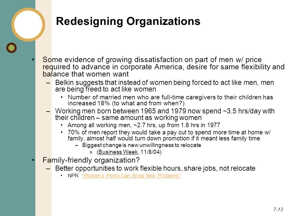 7-13 Redesigning Organizations Some evidence of growing dissatisfaction on part of men w/ price required to advance in corporate America, desire for same flexibility and balance that women want –Belkin suggests that instead of women being forced to act like men, men are being freed to act like women Number of married men who are full-time caregivers to their children has increased 18% (to what and from when ) –Working men born between 1965 and 1979 now spend ~3.5 hrs/day with their children – same amount as working women Among all working men, ~2.7 hrs, up from 1.8 hrs in 1977 70% of men report they would take a pay cut to spend more time at home w/ family, almost half would turn down promotion if it meant less family time –Biggest change is new unwillingness to relocate »(Business Week, 11/8/04) Family-friendly organization.