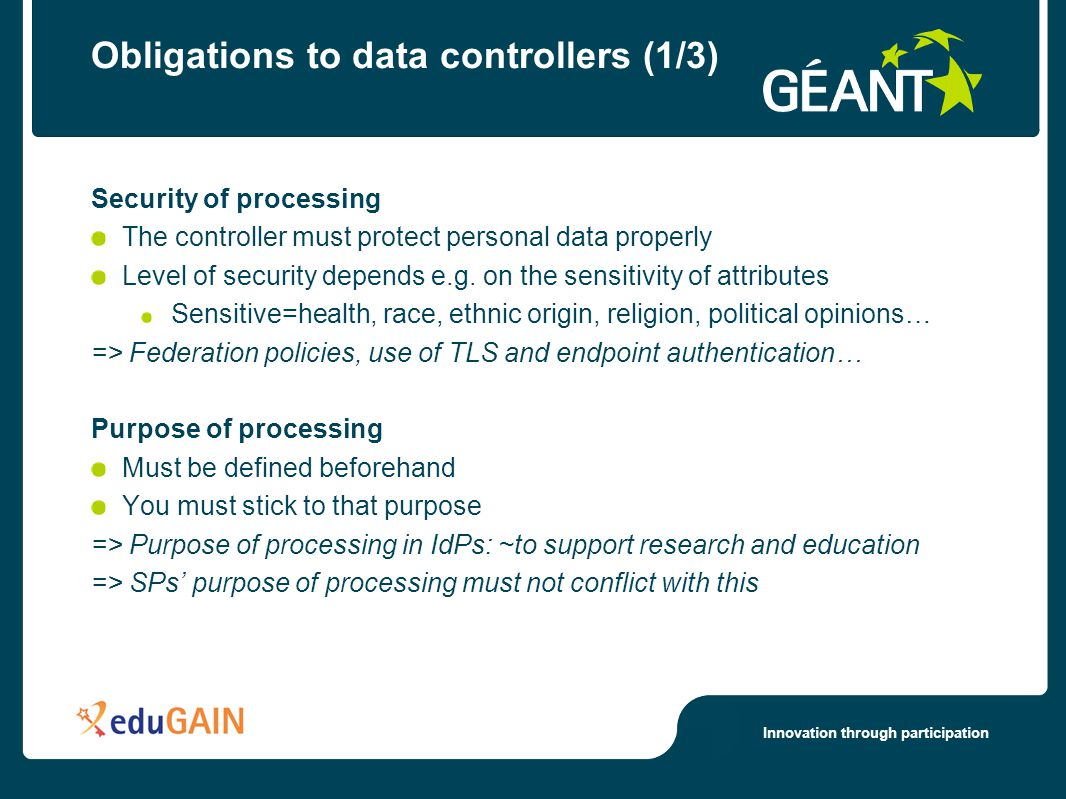 Innovation through participation Obligations to data controllers (1/3) Security of processing The controller must protect personal data properly Level of security depends e.g.