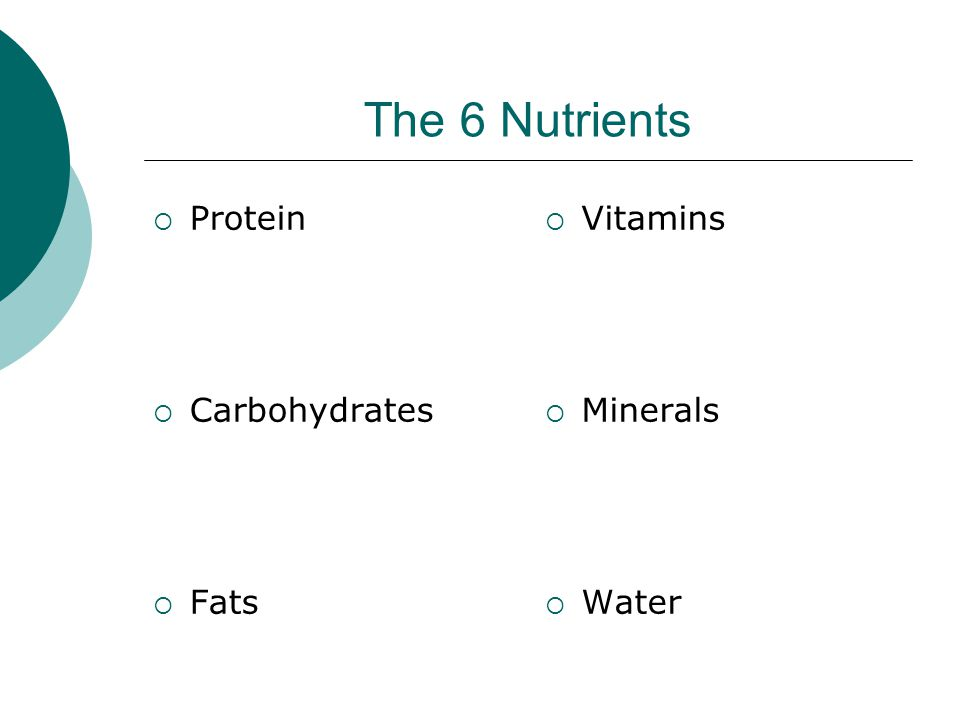 The 6 Nutrients  Protein  Carbohydrates  Fats  Vitamins  Minerals  Water