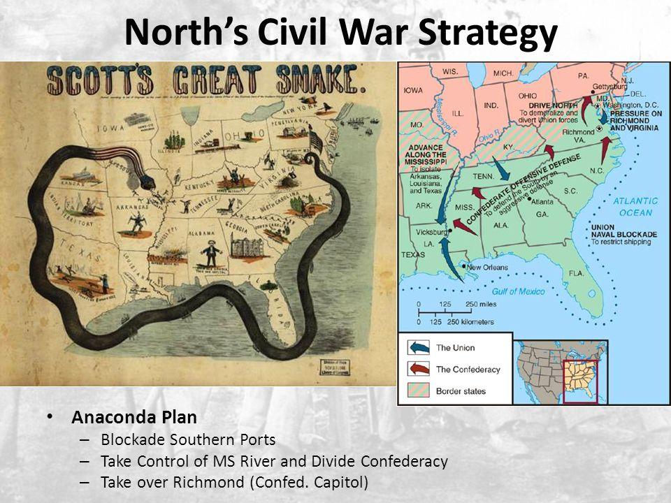 North's Civil War Strategy Anaconda Plan – Blockade Southern Ports – Take Control of MS River and Divide Confederacy – Take over Richmond (Confed.