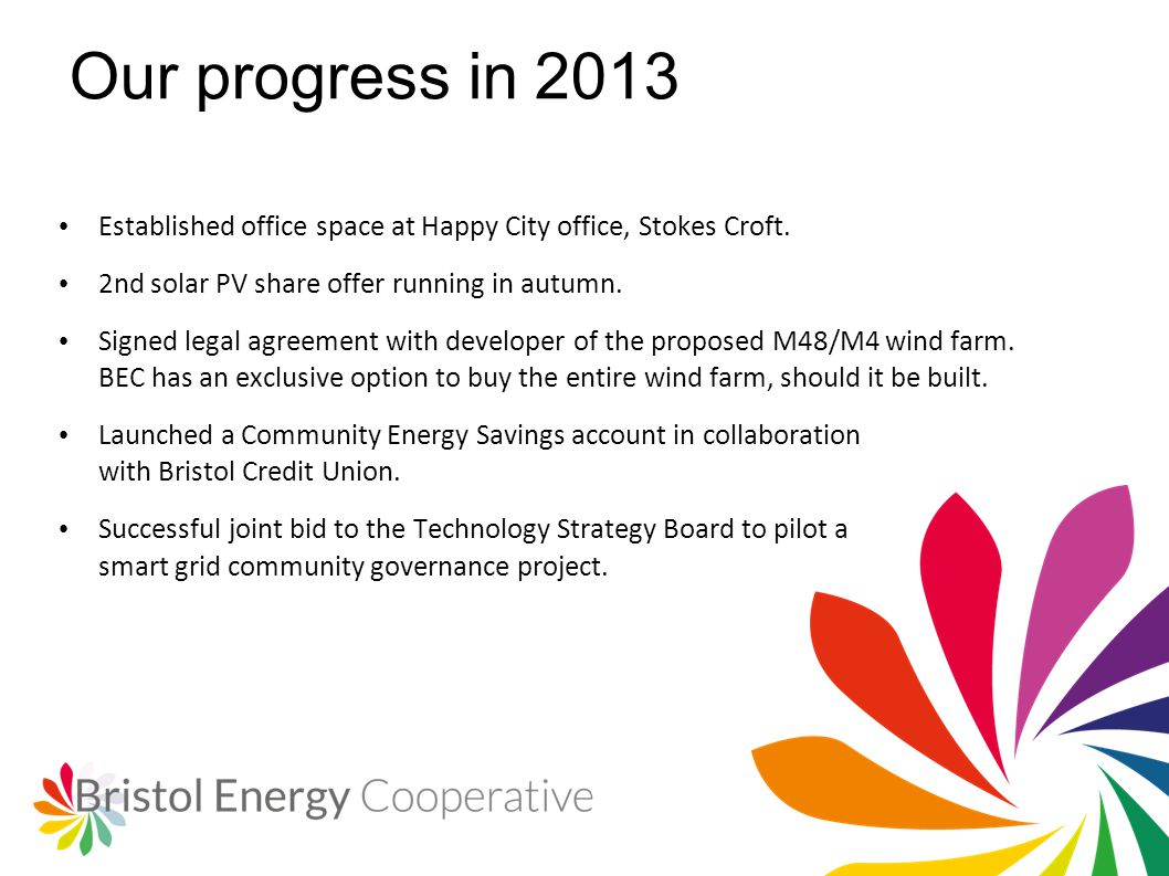 Our progress in 2013 Established office space at Happy City office, Stokes Croft.