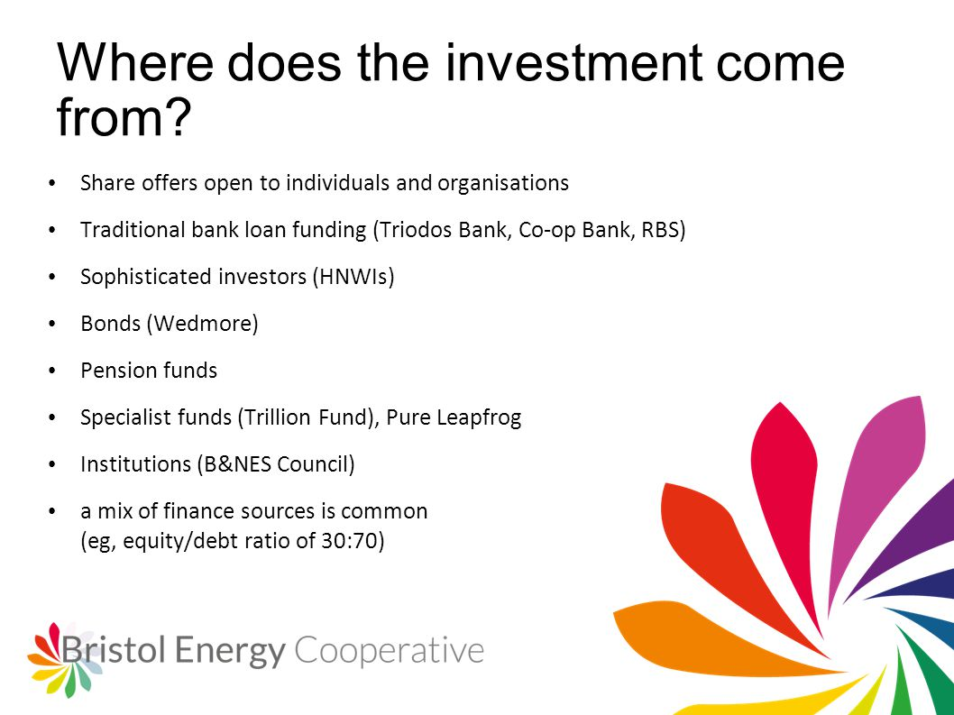 Where does the investment come from? Share offers open to individuals and organisations Traditional bank loan funding (Triodos Bank, Co-op Bank, RBS)
