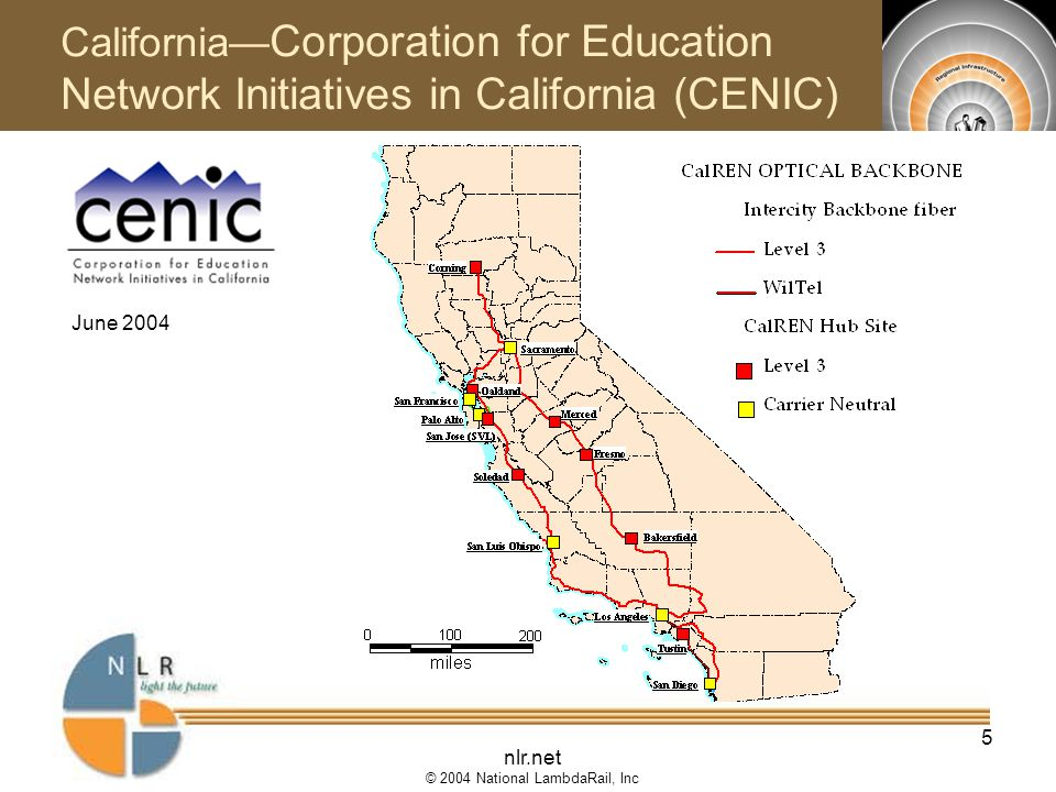 nlr.net © 2004 National LambdaRail, Inc 5 June 2004 California— Corporation for Education Network Initiatives in California (CENIC)