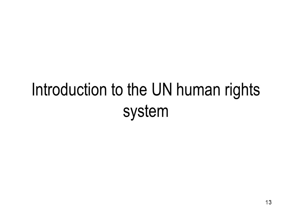 13 Introduction to the UN human rights system