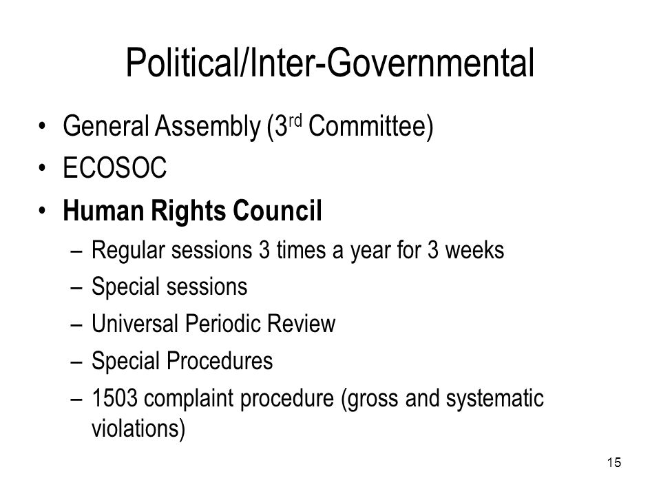 Political/Inter-Governmental General Assembly (3 rd Committee) ECOSOC Human Rights Council –Regular sessions 3 times a year for 3 weeks –Special sessi