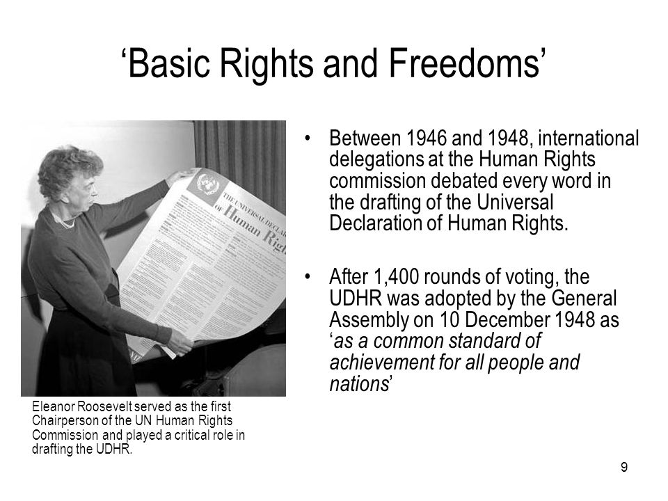 'Basic Rights and Freedoms' Eleanor Roosevelt served as the first Chairperson of the UN Human Rights Commission and played a critical role in drafting