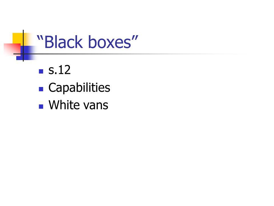 Black boxes s.12 Capabilities White vans