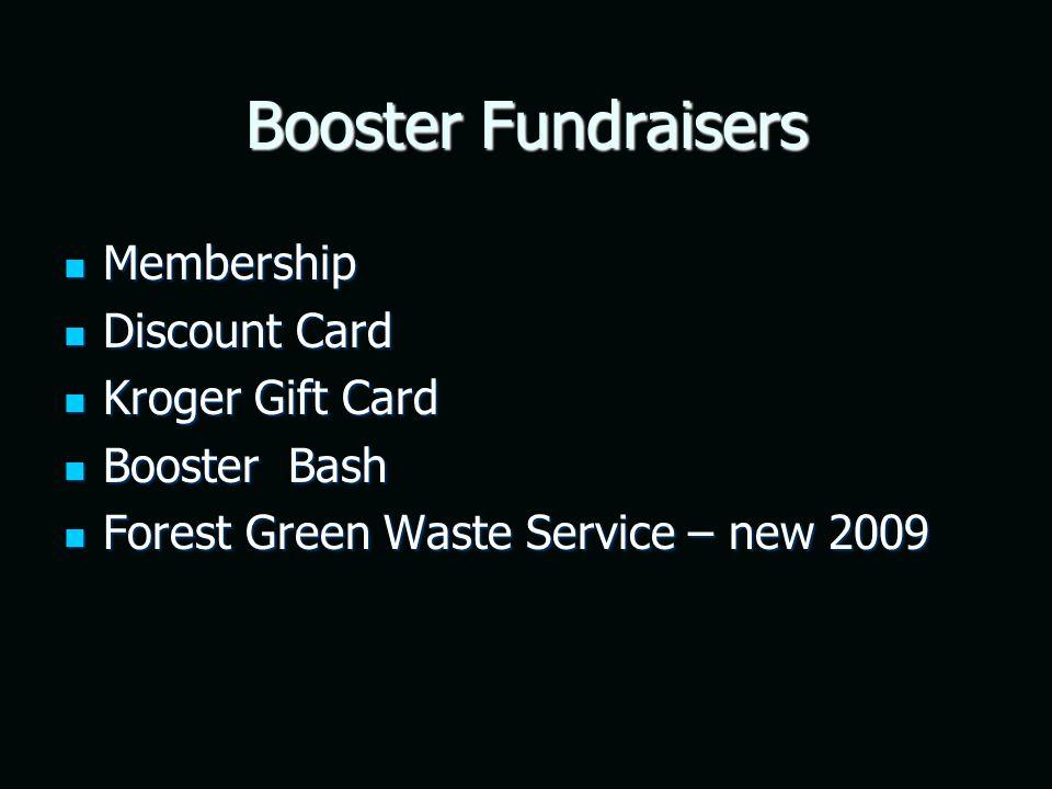 Booster Fundraisers Membership Membership Discount Card Discount Card Kroger Gift Card Kroger Gift Card Booster Bash Booster Bash Forest Green Waste Service – new 2009 Forest Green Waste Service – new 2009