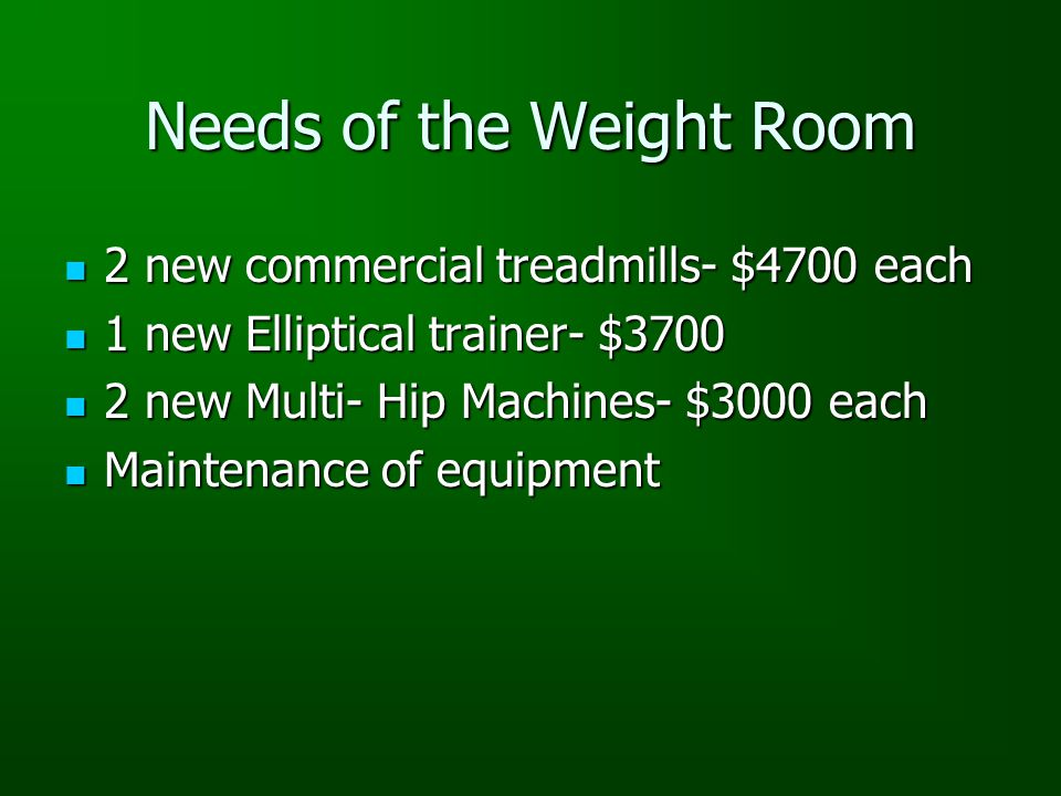 Needs of the Weight Room 2 new commercial treadmills- $4700 each 2 new commercial treadmills- $4700 each 1 new Elliptical trainer- $3700 1 new Elliptical trainer- $3700 2 new Multi- Hip Machines- $3000 each 2 new Multi- Hip Machines- $3000 each Maintenance of equipment Maintenance of equipment