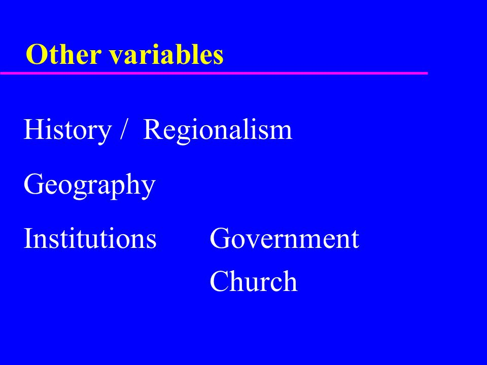 Other variables  History / Regionalism  Geography  Institutions Government  Church