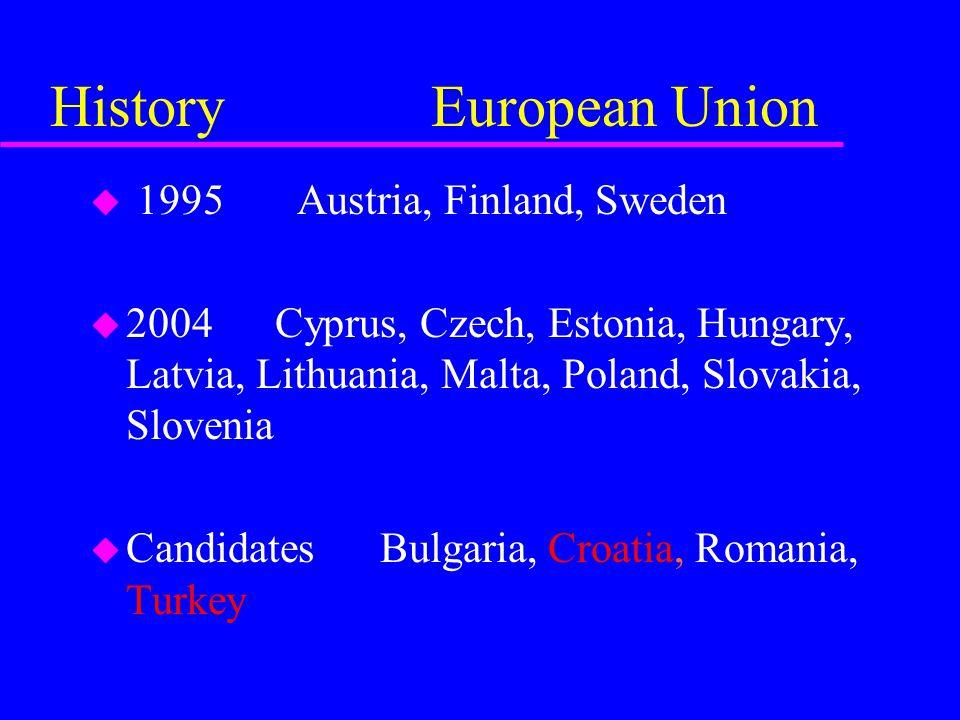 History European Union u 1995 Austria, Finland, Sweden u 2004 Cyprus, Czech, Estonia, Hungary, Latvia, Lithuania, Malta, Poland, Slovakia, Slovenia u Candidates Bulgaria, Croatia, Romania, Turkey