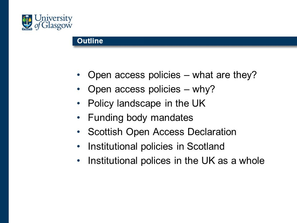 Scottish Open Access Declaration Event resulted in Scottish Open Access Declaration, which was signed by representatives of those attending Full declaration available at http://scurl.ac.uk/WG/OATS/declaration.htm http://scurl.ac.uk/WG/OATS/declaration.htm Included actions for different organisations attending