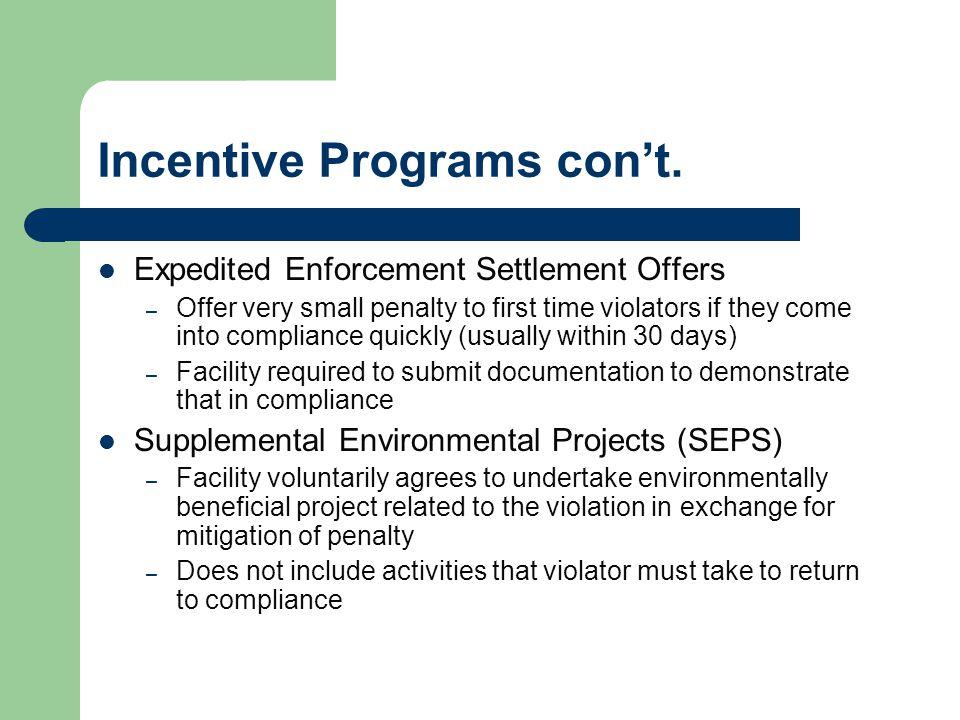 Incentive Programs con't.