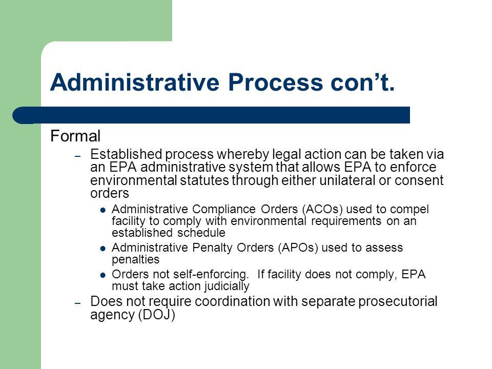 Administrative Process con't.