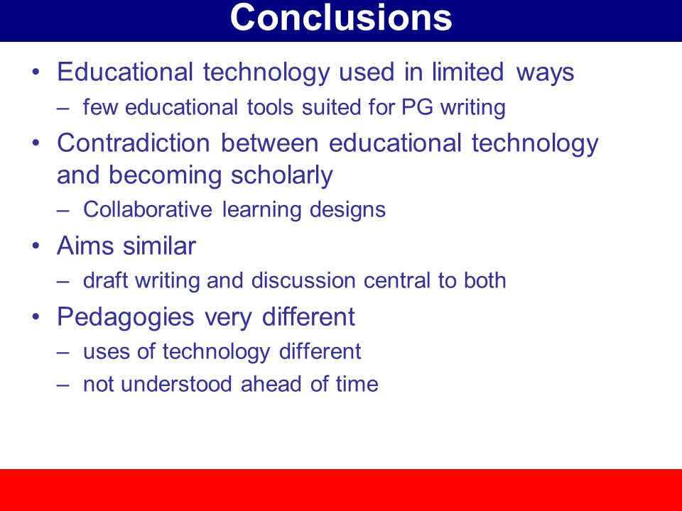 Conclusions Educational technology used in limited ways –few educational tools suited for PG writing Contradiction between educational technology and becoming scholarly –Collaborative learning designs Aims similar –draft writing and discussion central to both Pedagogies very different –uses of technology different –not understood ahead of time