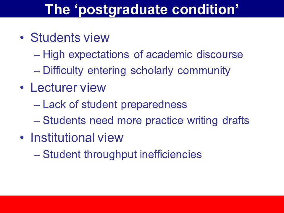 The 'postgraduate condition' Students view –High expectations of academic discourse –Difficulty entering scholarly community Lecturer view –Lack of student preparedness –Students need more practice writing drafts Institutional view –Student throughput inefficiencies