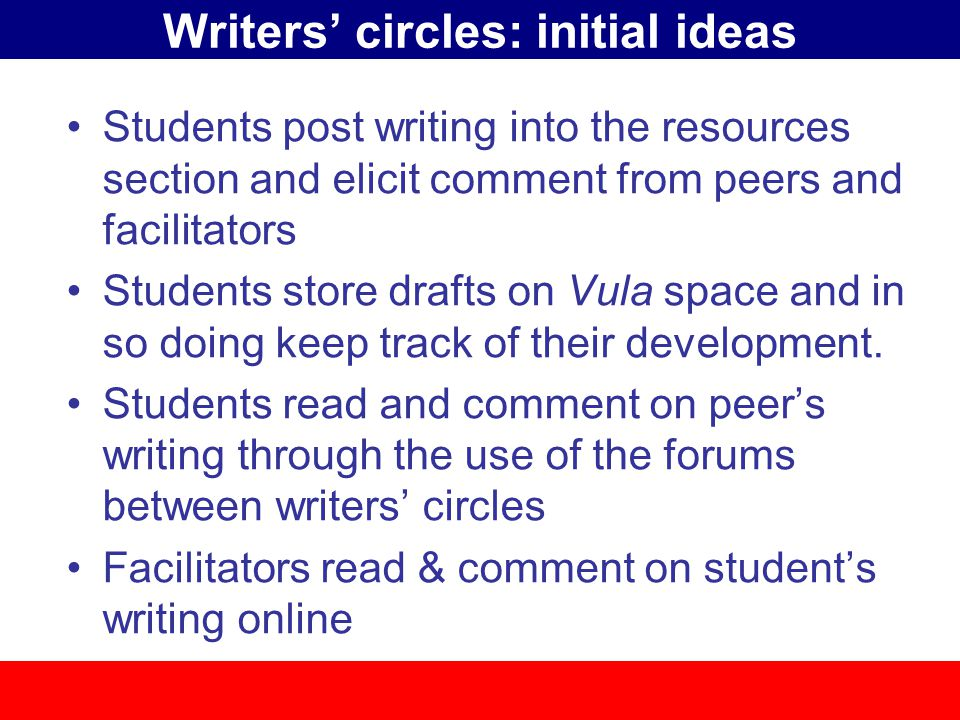 Writers' circles: initial ideas Students post writing into the resources section and elicit comment from peers and facilitators Students store drafts on Vula space and in so doing keep track of their development.