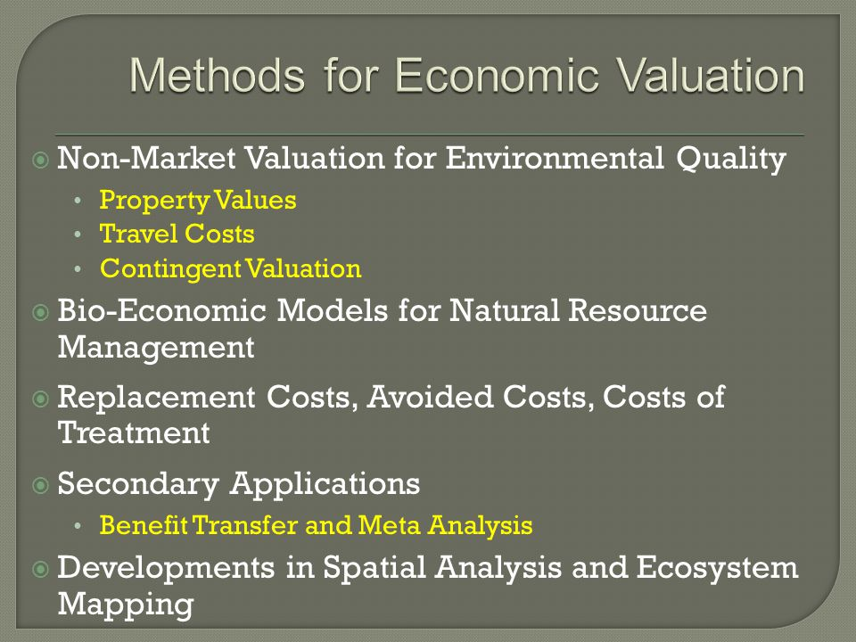  Non-Market Valuation for Environmental Quality Property Values Travel Costs Contingent Valuation  Bio-Economic Models for Natural Resource Management  Replacement Costs, Avoided Costs, Costs of Treatment  Secondary Applications Benefit Transfer and Meta Analysis  Developments in Spatial Analysis and Ecosystem Mapping