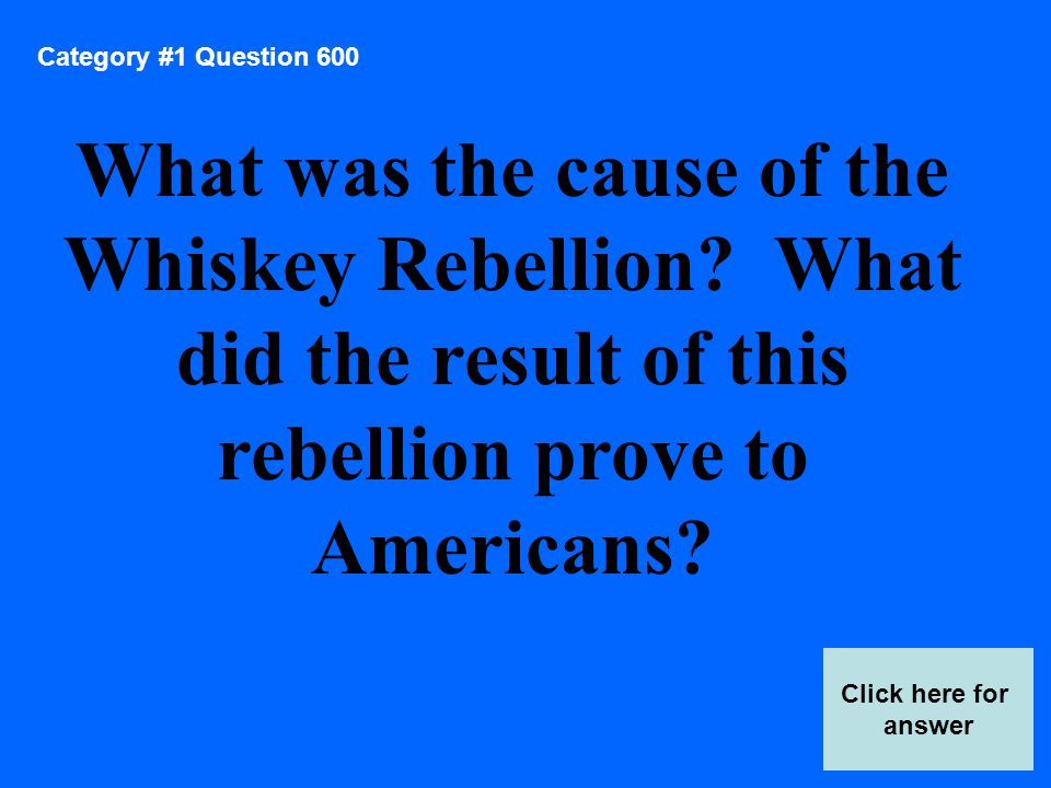 Category 2 Answer 800 Score Board He reduced the size of the army and navy, lowered the budget, and repealed the whiskey tax.