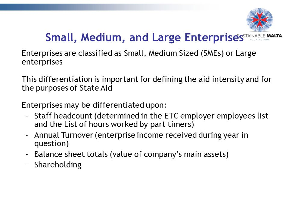 Small, Medium, and Large Enterprises Enterprises are classified as Small, Medium Sized (SMEs) or Large enterprises This differentiation is important f