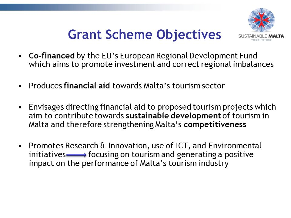 Grant Scheme Objectives Co-financed by the EU's European Regional Development Fund which aims to promote investment and correct regional imbalances Pr