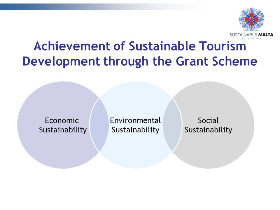 Social Sustainability Achievement of Sustainable Tourism Development through the Grant Scheme Economic Sustainability Environmental Sustainability