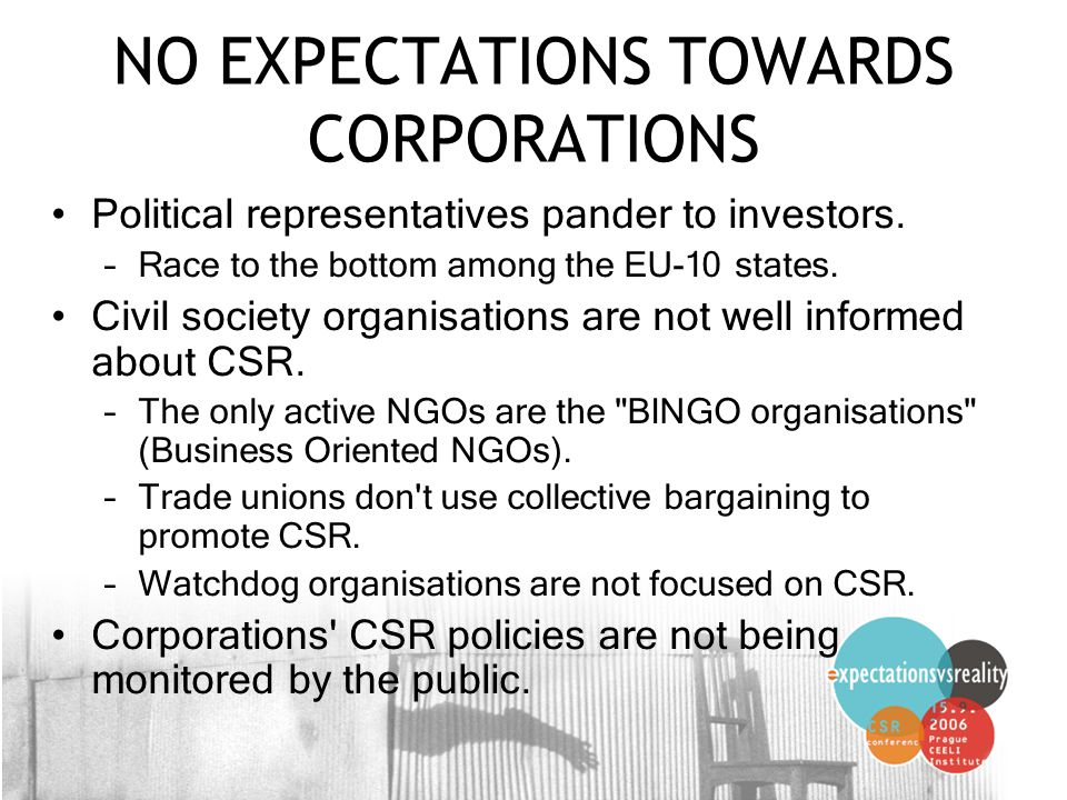 18 NO EXPECTATIONS TOWARDS CORPORATIONS Political representatives pander to investors.