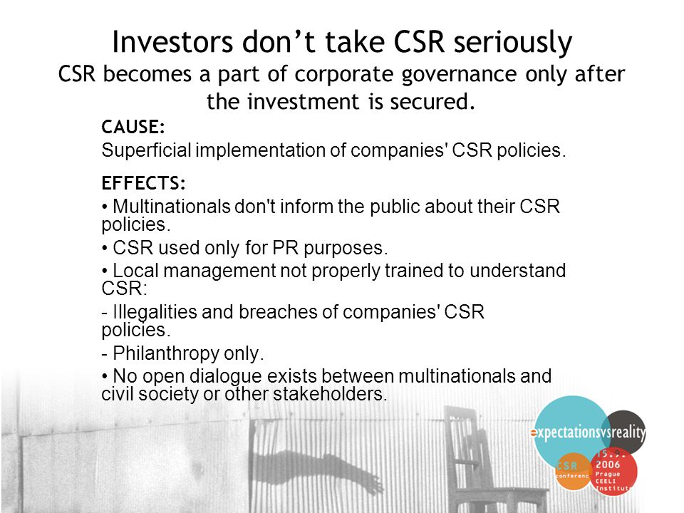 6 Investors don't take CSR seriously CSR becomes a part of corporate governance only after the investment is secured.