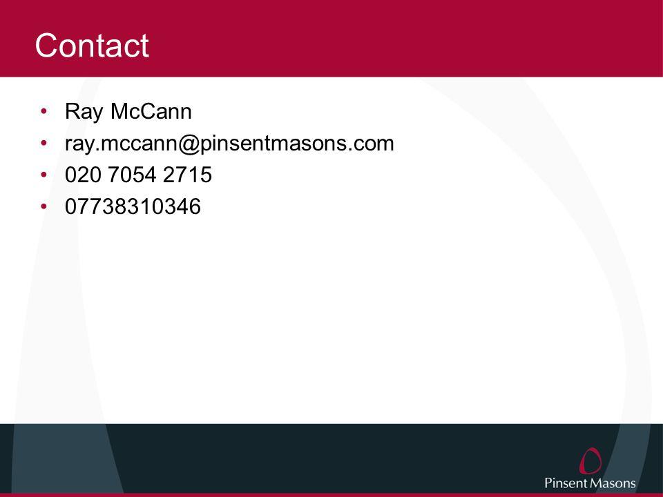 Contact Ray McCann ray.mccann@pinsentmasons.com 020 7054 2715 07738310346