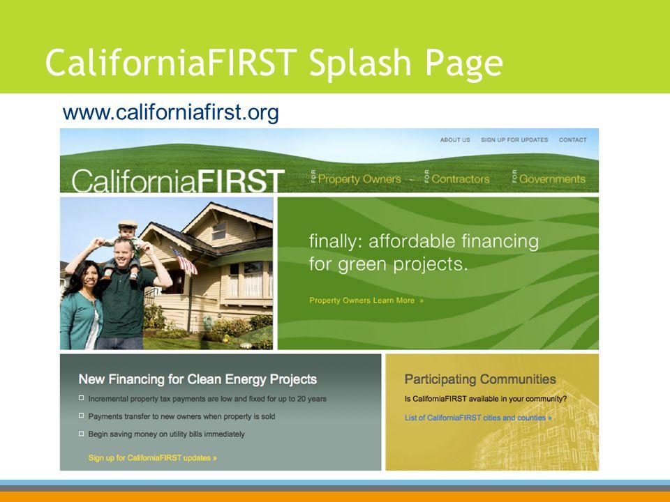 CaliforniaFIRST Splash Page www.californiafirst.org