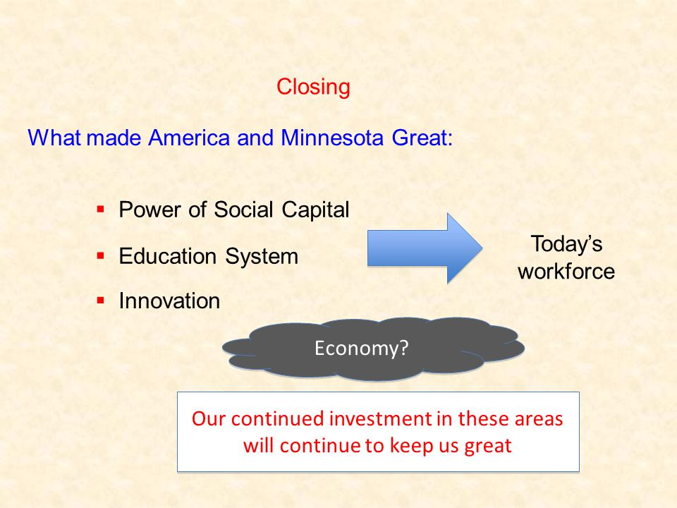 Closing What made America and Minnesota Great:  Power of Social Capital  Education System  Innovation Our continued investment in these areas will continue to keep us great Economy.
