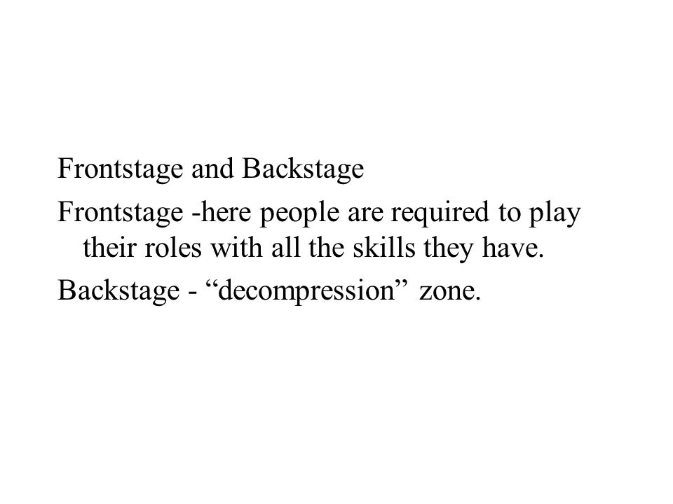 Frontstage and Backstage Frontstage -here people are required to play their roles with all the skills they have.